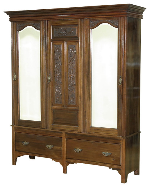 Consigned antique walnut victorian sectional armoire