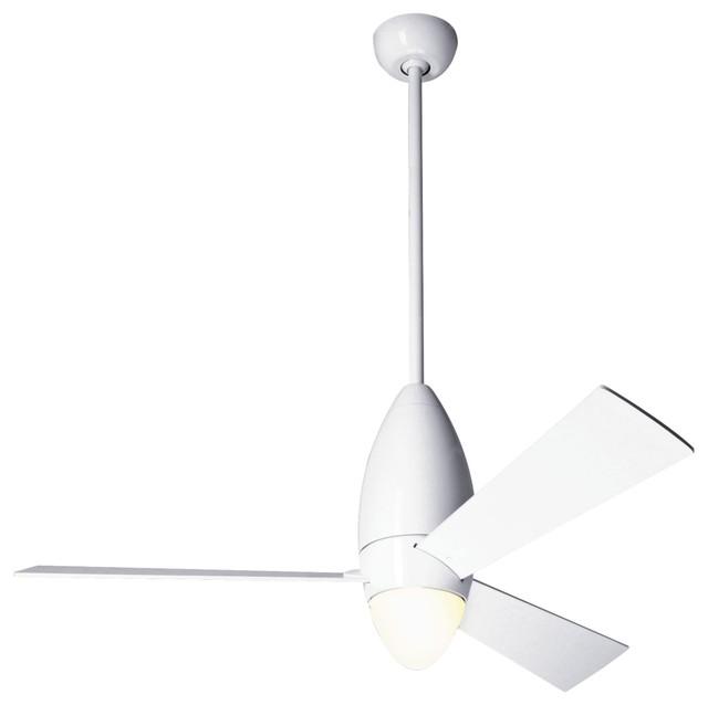 """52"""" Modern Fan DC Slim Gloss White Ceiling Fan & Light"""
