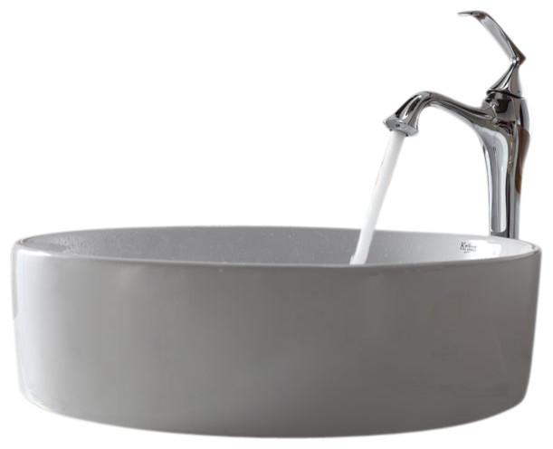 Kraus Sinks Uk : Kraus White Round Ceramic Sink and Ventus Faucet contemporary-bathroom ...