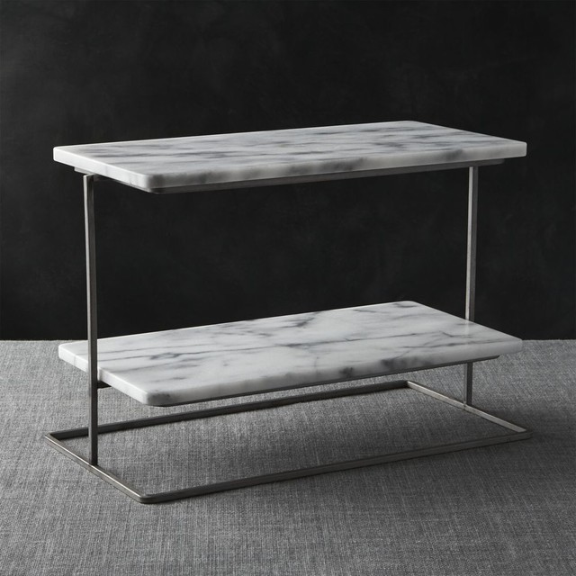 French Kitchen Marble 2-Tier Server contemporary-serveware