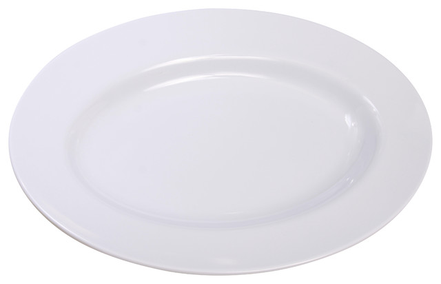 Melamine Oval Plate, White, 2-Piece Set - Modern - Serving Trays - by Shall