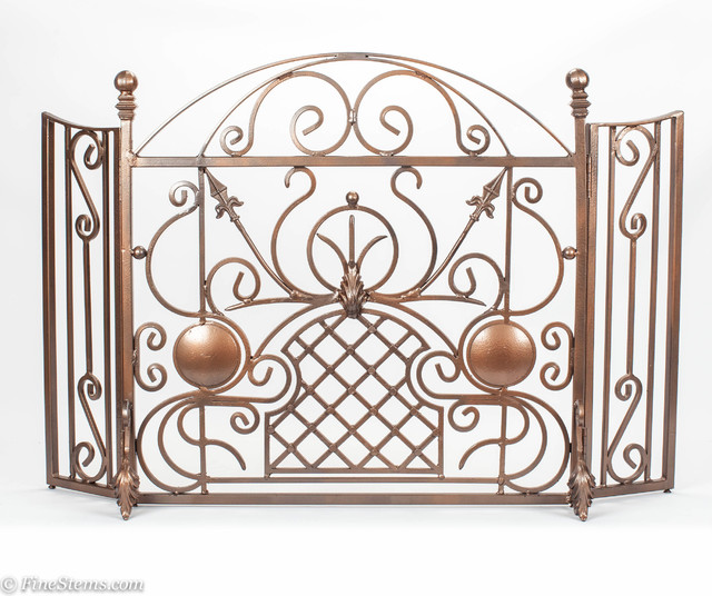 One Of A Kind Custom Copper Iron Fireplace Screen Traditional Fireplace Screens Chicago