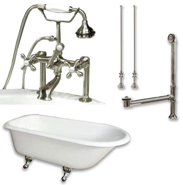 Cast Iron Rolled Rim Tub 61 Telephone Faucet Brushed Nickel Package Traditional Bathtubs
