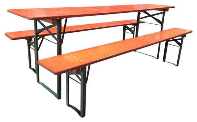 Vintage European Orange Wood Picnic Tables Benches 800 Est Retail 450 On