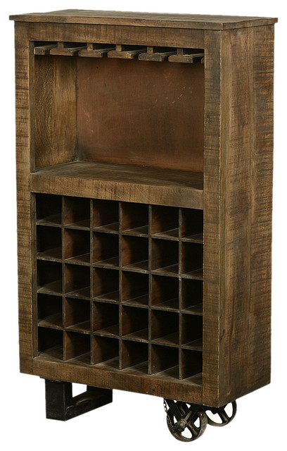 Solid Wood Bar Unit With Wheels Rustic Wine And Bar