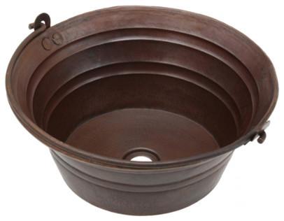 Copper bucket sinks rustic bathroom sinks other by for Metal bucket sink
