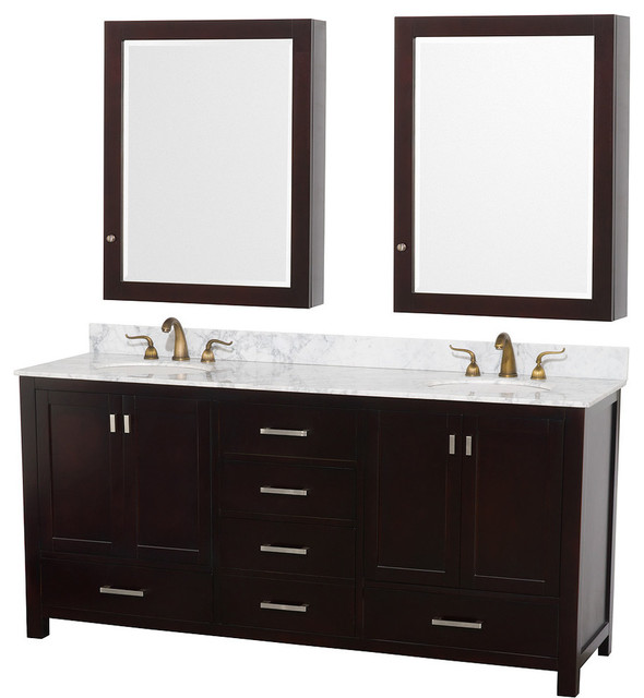Abingdon Espresso with Medicine Cabinet Mirrors and Undermount Porcelain Sinks transitional ...