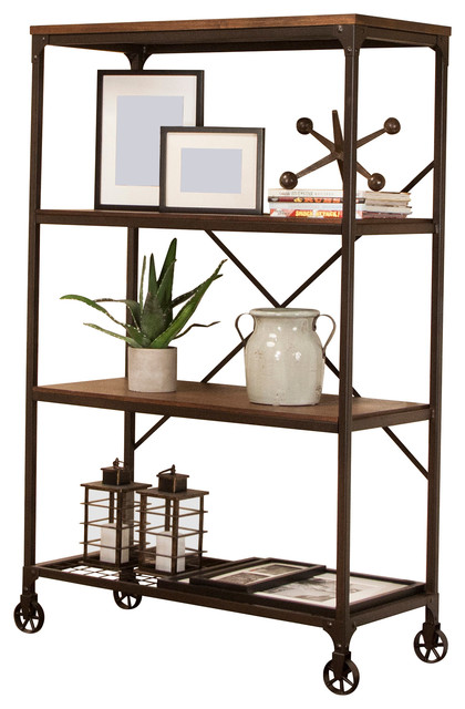 Sunset Trading Rustic Elm Industrial  Shelf Bookcase Industrial