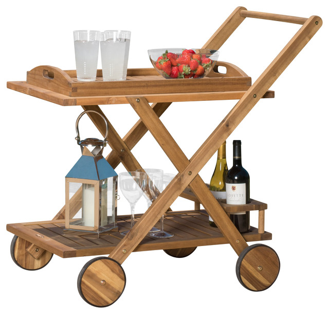 Kadence Wooden Serving Cart Contemporary Outdoor Carts