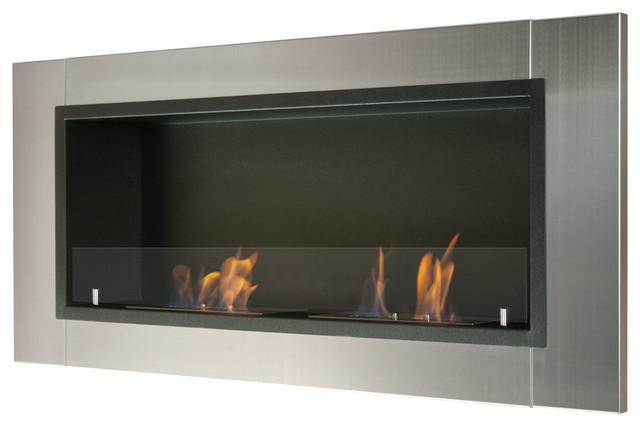 Lata Wall Mounted Recessed Ventless Ethanol Fireplace With Glass Barrier Modern Indoor