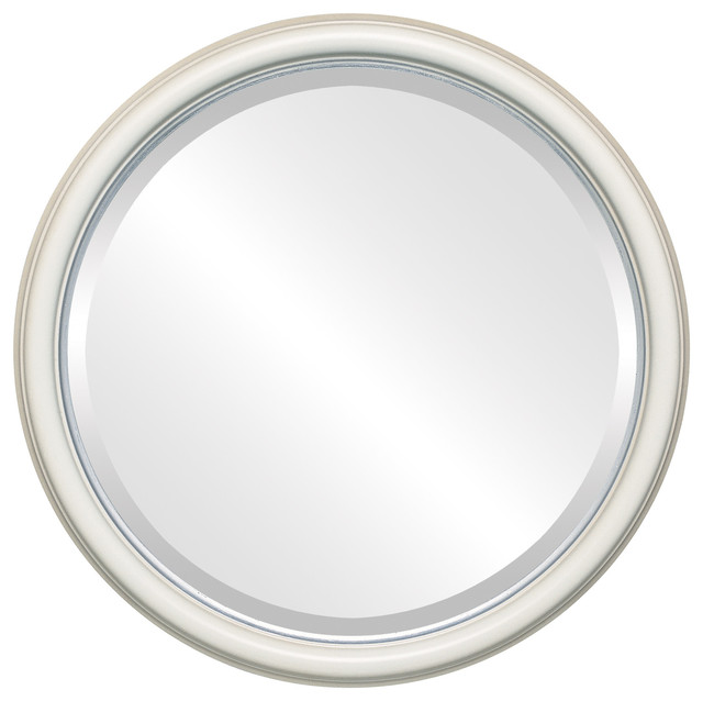 hamilton framed round mirror in taupe with silver lip 25 x25 wandspiegel von the oval and. Black Bedroom Furniture Sets. Home Design Ideas