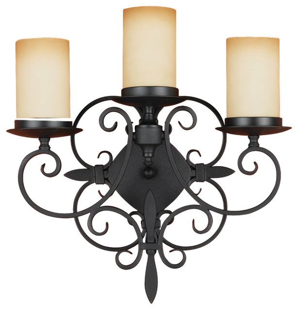 Wall Sconces Murray Feiss : Murray Feiss WB1312BK King s Table 3 Bulb Black Wall - Traditional - Wall Sconces - by Lighting ...