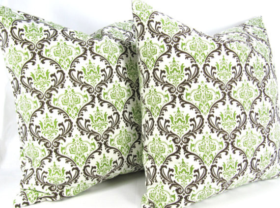Chocolate Brown Mint Green Decorative Throw Pillow Covers