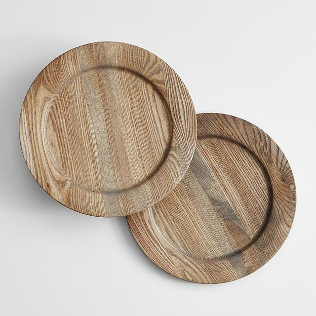 Bathroom wall sconces vanity lighting and bathroom lighting - Wooden Charger Plates Modern Tabletop By Redenvelope