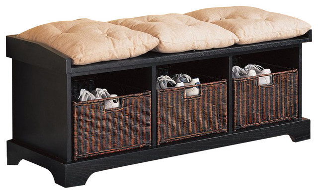 Coaster Black Storage Bench With Baskets Transitional