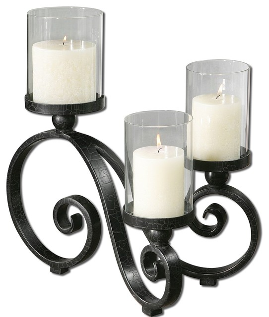 Materials Distressed And Glazed: Uttermost Arla Black Crackle Candleholder 19739