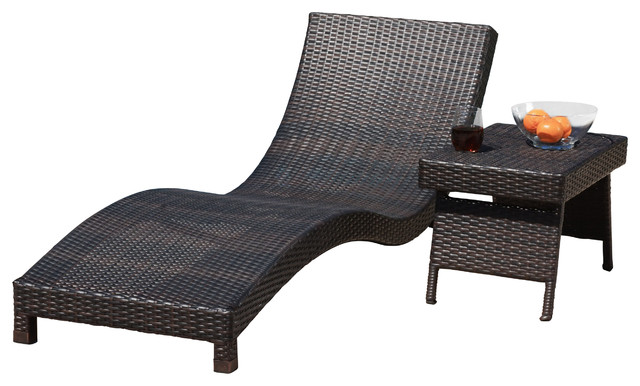 Grecian outdoor 2 piece brown wicker chaise lounge chair for Accent chaise lounge