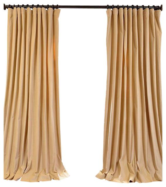 British Tan Doublewide Vintage Cotton Velvet Curtain
