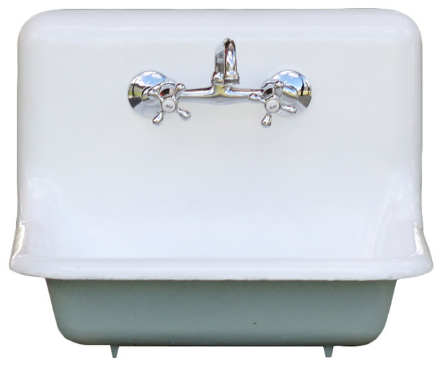 Blue Farmhouse Sink : ... Blue High-Back Cast Iron Refinished Farmhouse Sink farmhouse-kitchen