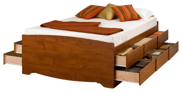 prepac tall double full platform storage bed in cherry