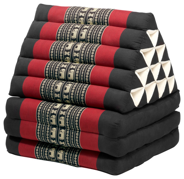 Zen Floor Pillows : Triangle Lounger, Black/Red - Asian - Floor Pillows And Poufs - by My Zen Home, LLC