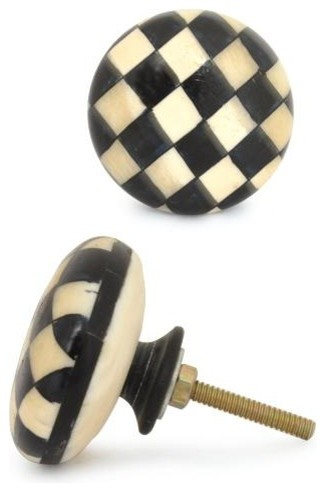 Bone Knobs, White And Black Checkerboard, Set of 2 - Contemporary - Cabinet And Drawer Knobs ...