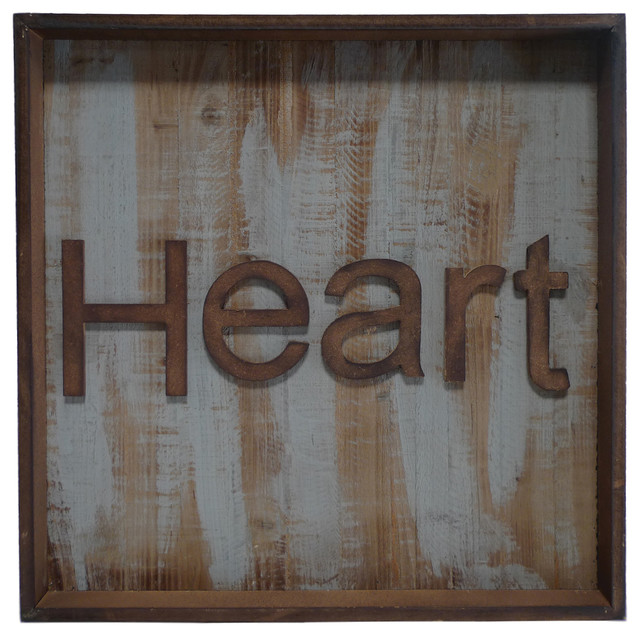 Cheungs Home Decorative Heart Metal/Wood Wall Decor ...