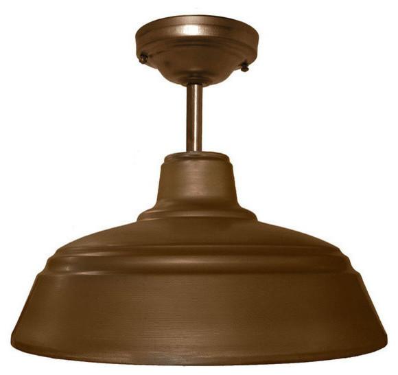 "Metal Farmhouse 14"" Industrial Bronze Downrod Pendant Light No Bulb 14"