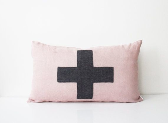 Decorative Pillows With Crosses : Pale Pink Pillow Cover, Swiss Cross by Beanie on Helina - Contemporary - Decorative Pillows - by ...