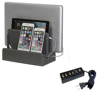 Textured Leatherette Multi-Device Charging Station And Dock, Gray