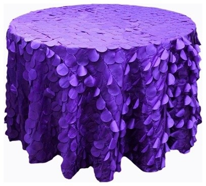 120 Quot Raised Petals On Taffeta Round Tablecloth Purple