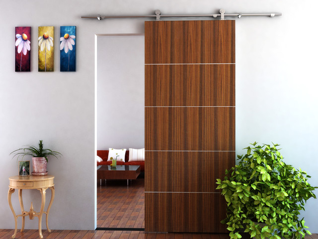 Modern barn door hardware for wood door moderno for Herrajes puerta granero