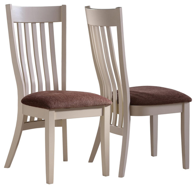 2 pc country pecan white wood dining chairs fabric seat 104342 for White fabric dining chairs