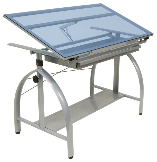 10060 avanta drafting table silver blue glass moderne for Table de dessin architecte