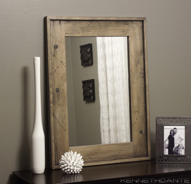 Framed Bathroom Mirrors Rustic distressed wood framed bathroom mirrors - reclaimed wood mirror