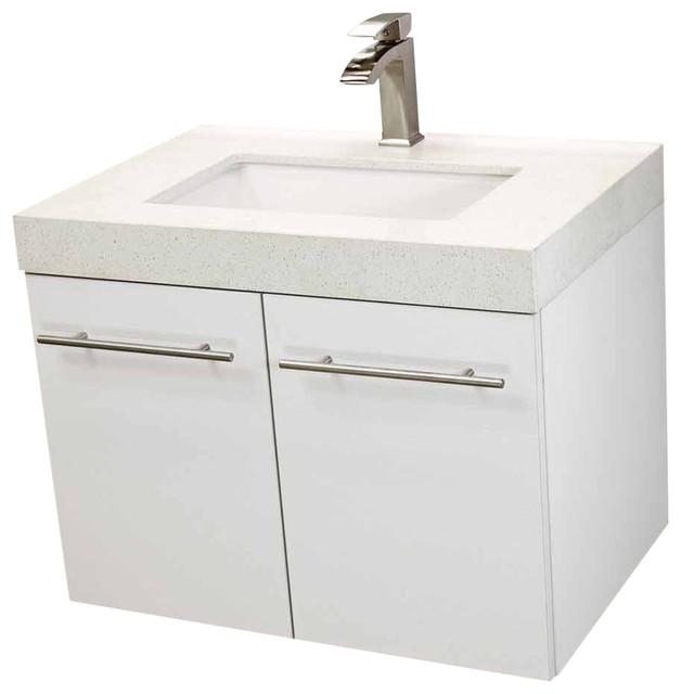 Windbay 24 Floating Vanity Sink Set White White Quartz Under Mount Counter Modern