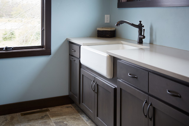Apron Laundry Sink : Apron Front Sink with a Quartz Countertop traditional-laundry-room