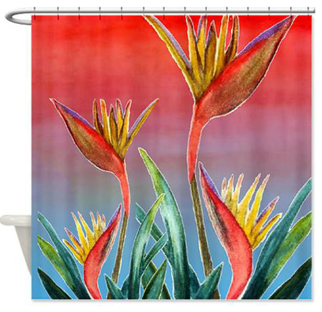 bird of paradise shower curtain exotique rideau de douche par art gifts by the beach. Black Bedroom Furniture Sets. Home Design Ideas