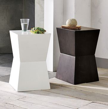 Rustic block side table west elm contemporary side for West elm geometric coffee table