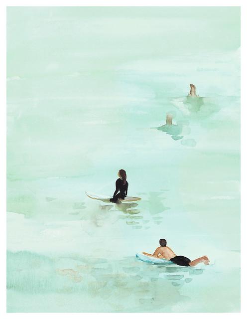 Surf waiting unframed giclee beach style fine art for Beach house prints