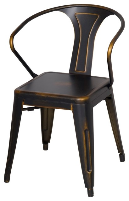 Metropolis metal arm chair disstressed cooper set of 8 for Sillas para comedor industrial