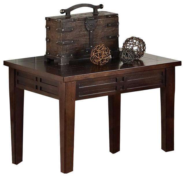 steve silver crestline 26x18 chairside end table rustic