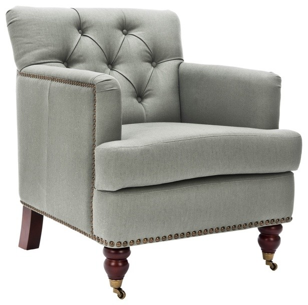 Manchester Green Gray Club Chair Traditional Armchairs