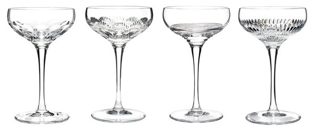 Champagne coupe clear set of 4 by waterford traditional wine glasses by the longest stay - Waterford champagne coupe ...
