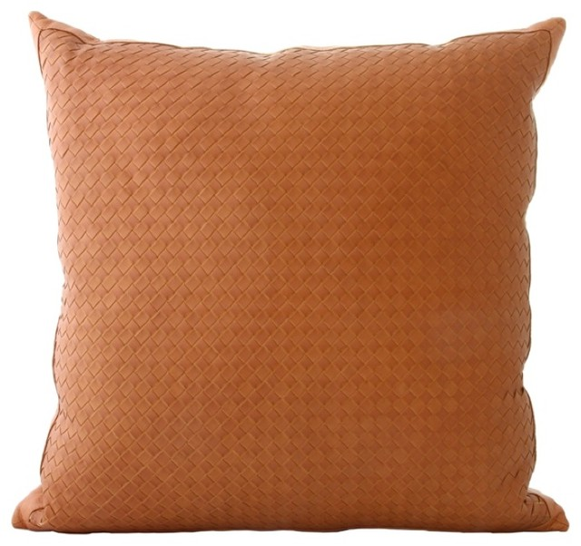Decorative Leather Pillows : Woven Leather Throw Pillows - Contemporary - Decorative Pillows - los angeles - by Gracious Style