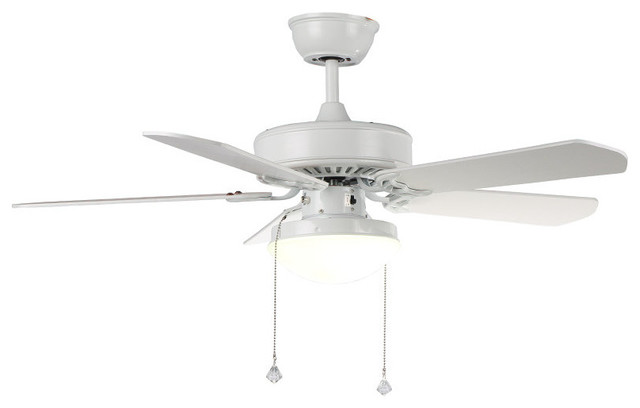 Modern White Ceiling Fan With Glass Shade Modern