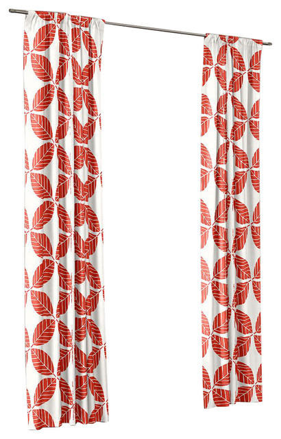 Geometric Coral Leaf Outdoor Curtain Single Panel