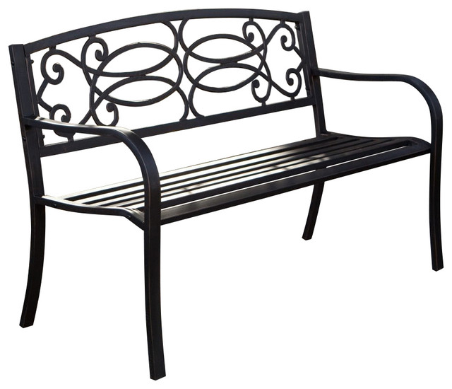 4 Ft Metal Garden Bench In Antique Black Finish Outdoor Benches By Beyond Furniture