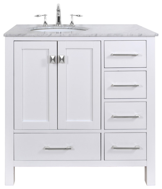 Malibu Pure White Single Sink 36 Inch Bathroom Vanity Transitional Bathro