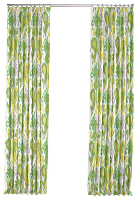 lime green ikat pleated curtain single panel modern curtains by